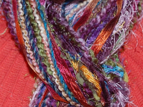 JEWEL TONE KNOTTED NO SEW YARN SCARF FUNDS FOR MISSION TRIP