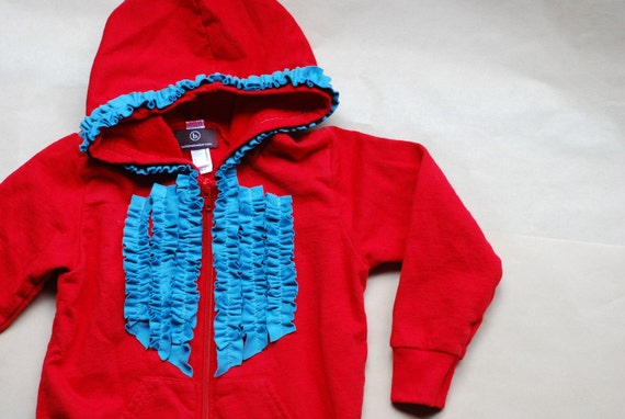Red & Aqua Ruffled Hoodie.  Beautiful, bright and adorable!  3 LEFT! 2T and 4T