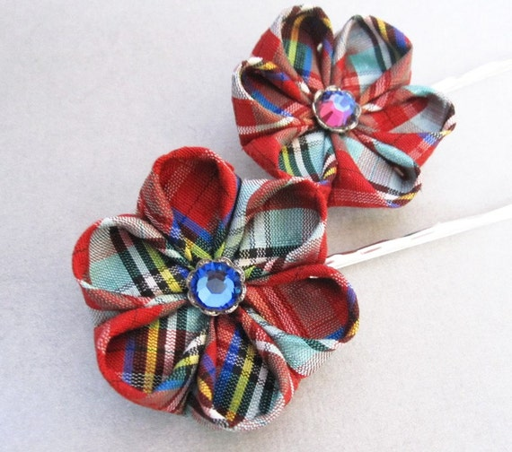 Red Plaid Flower Bobby Pin SALE