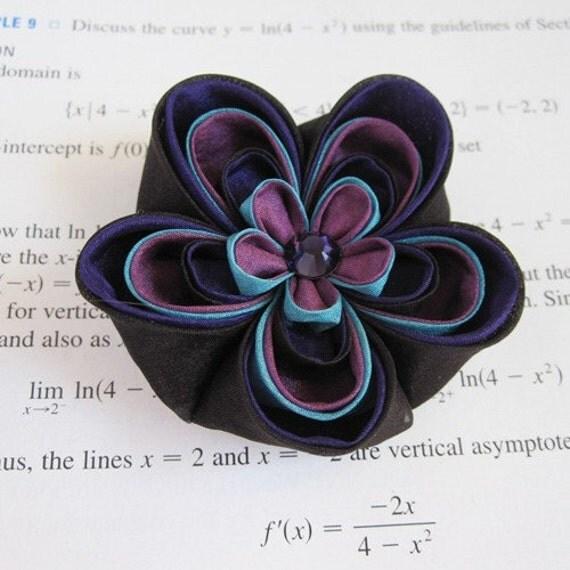 Purple Lolipop Tsumami Kanzashi Silk Flower Hair Clip SALE