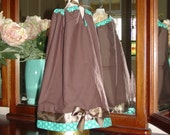 Brown and Teal Polka Dot reversible pillowcase dress top 12m-2T