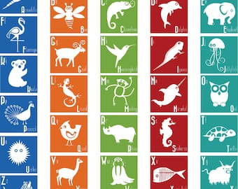 Animal ABC Squares wall vinyl decals Art Graphics Stickers