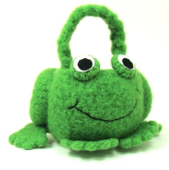 Frog Mini Basket Felted Crochet Pattern PDF INSTANT