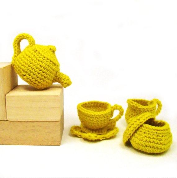 Tea Time Doll Tea Set Crochet Pattern PDF