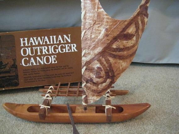 Vintage Hawaiian Koa Wood Outrigger Canoe With Original Box