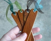 4 Leather Bookmarks - small honey brown