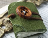 Forest green mini journal - tiny book made from green leather with wooden button