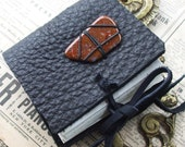Black and Red Stone Journal - thick leather with real polished stone slice.