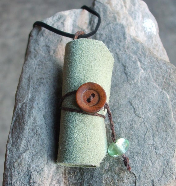 Leather Scroll Necklace - a journal you can wear, a locket for your thoughts