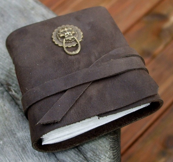 Lion Knocker Journal - chocolate brown with antique gold colored lion face