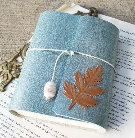 Winter Frost - robins egg blue and copper italian leather journal with oak leaf motif. sky blue.