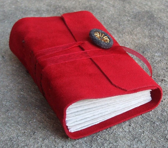 Red Suede Leather Journal - cherry and charcoal with vintage button