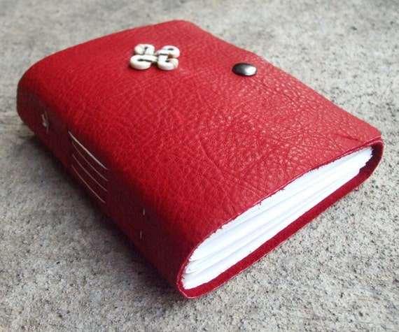 SALE Crimson Celtic Leather Sketchbook  - mysterious blood red leather journal with white strathmore pages