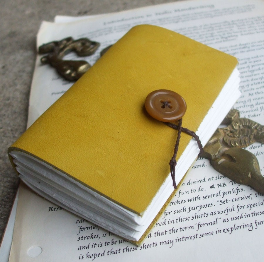 Yellow Pocket Book Leather Sketchbook Journal In Mustard
