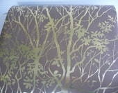 Vintage Wallpaper Metallic Gold Brown Floral Trees by the yard