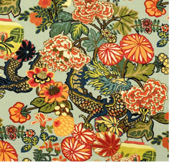 Chiang mai dragon aquamarine fabric F. Schumacher yardage make your own pillow remnant 23x12.5""