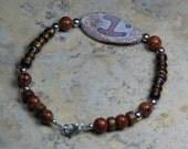Men's Bracelet with Tibetan Agate and Golden Sponge Coral