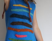 vibrant blue sweater dress or tunic for a toddler girl with colorful stripes