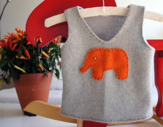 orange elephant sweater vest for a baby
