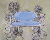 blue settee and daisies reserved for kari bergh