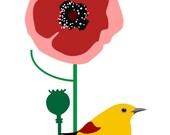 Poppies Print, Poppies Home decor, Poppy Print, bird Print, Red Flower Print, Wall Print, Poster Print, Wall Art, Girls Room Nursery Decor