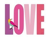Love quote Typographic Print - Love -  love art print,Quote print,love bird art,heart art,Quote art print wall decor,Typography family decor
