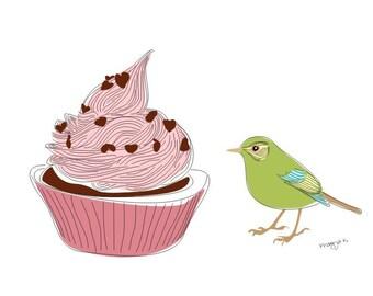 kitchen art print, Sweet cupcake Art, Food Painting, Kitchen Art Decor, cute Wall Art, Modern Art Print, Kitchen Art- Love you so - bird art