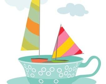 Tea print - Sailing in a tea cup - Cup of Tea Art, Tea Lover Gift, Tea Picture, Tea Art, art for kitchen, tea wall art, tea print