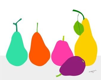 Modern Kitchen Art, Pear print, Pear art, Fruit Art, Original Art Prints, Retro Kitchen Art, Kitchen Art, Kitchen Wall Decor, Food Poster