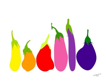 Kitchen Wall Art Eggplant Print Dining Room Decor Vegetable Poster