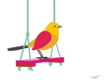 Original art, bird art print, Bird on swing nursery art print - Swing on - cute bird art, nursery print, Nursery Art for Kid, kid Room Décor