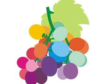 Kitchen art print -  Grapes -  grapes illustration art,  Modern Illustration, Kitchen Retro Art Wall, Decor Print, kitchen wall art,