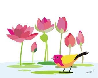 6 Lotus art print, bird flower print, art print, botanical art prints, water illy flower wall art, garden prints, bird wall art, pink, mint