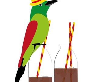 Kitchen art print, Tea print - Ice Tea -  Tea Lover Gift, Tea Party Decor, bird Art, Kitchen Print, Wall art, tea lovers, tea art, bird art