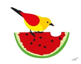 Original art, kitchen art, Watermelon bird art print, fruit kitchen poster, fruit poster, abstract print, modern kitchen print - Watermelon