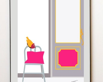 neon pink Bird art print - Perched on a chair - wall art print,fine art print,art print,illustration art,wall print,wall decor art print