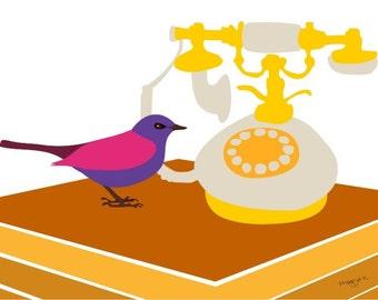 fun whimsical bird art print - waiting for the call- Vintage telephone & bird print,Whimsical Bird Decor Bird print,Bird art,Bird wall art