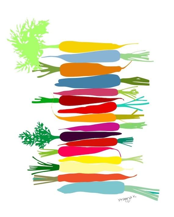 Art Print - Original Art Print - Carrot Decor - Carrot Illustration - Carrot Wall Hanging - Carrot Print - Kitchen Decor - Kitchen Art Print