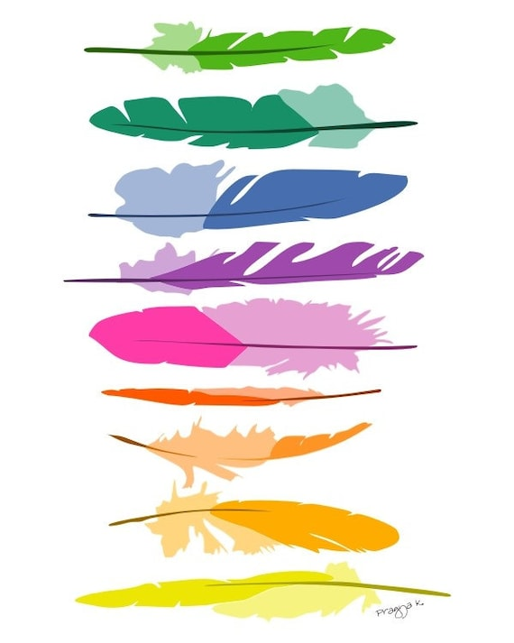 Feathers nursery art print - Colorful feathers - Child's Room, Baby decor, playroom decor, Boys Girls Nursery Decor, colorful illustration