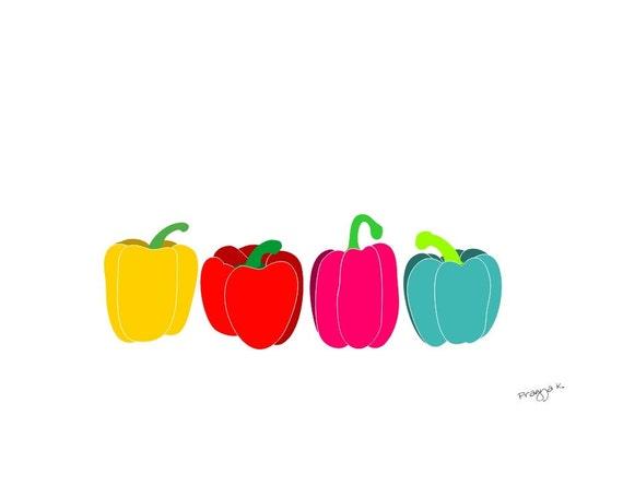 Original Art Prints, Bell Pepper art, Vegetable Wall Art, Retro Kitchen Art, Kitchen Art, Kitchen Wall Decor, Food Poster, Vegetable Art