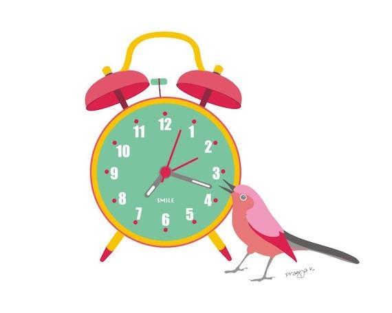 Nursery art print - It's time - art for kids, Bird art print, Baby Art, bird wall art, 8 X 10 print, baby girl art, child's art, gift idea