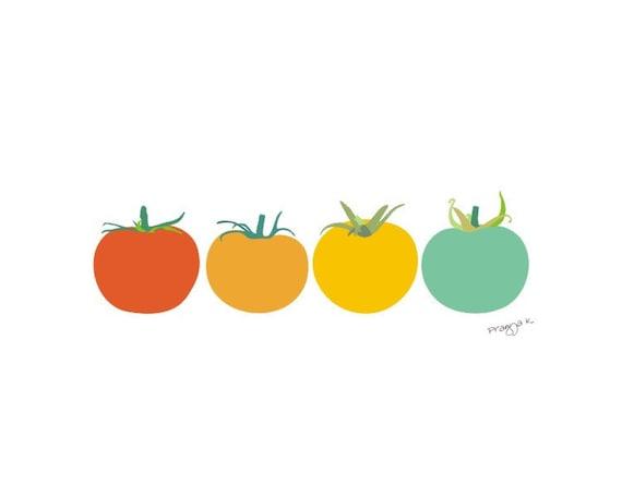 Kitchen art print - Tomatoes - Food art, Modern kitchen, Kitchen print, Art for Kitchen, Kitchen decor, Retro poster, minimalist print,