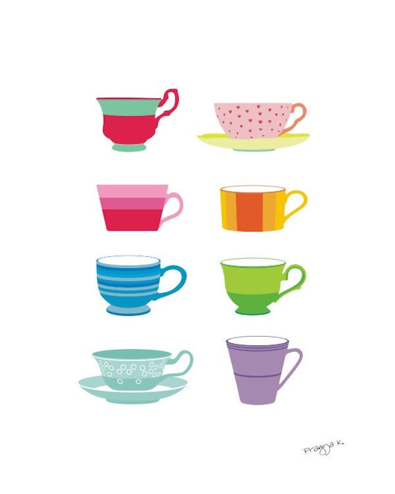 Tea print - Tea Cups -  Kitchen art, Wall Art Print,Tea Art Print, Art for Kitchen, Gift for Tea Lover, Home Decor Art Print, Tea Love