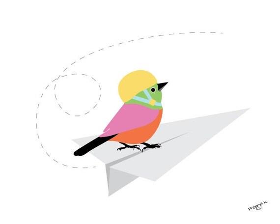nursery art print - paper plane - Bird on paper plane print, nursery print, Nursery Art for Kids, Room Décor, nursery decor, jungle art