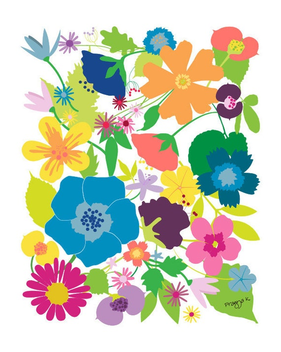 Floral art print  - Secret Garden - Flower print,8x10,colorful art,floral wall decor,floral print,wild flower print,Gallery Wall Prints