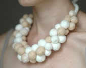 Felted necklace chunky white and beige, statement necklace, fashion neckpiece