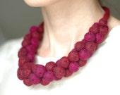 Satement necklace in burgundy, felt, bold chunky jewellery