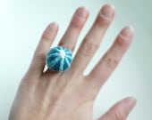 Felt embroidered ring - adjustable ring - green blue sea urchin