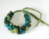 Felt necklace, statement necklace, fresh forest green fashion necklace