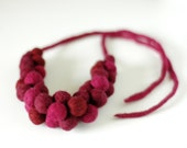 Bold statement necklace - felt bead necklace - maroon and dark pink